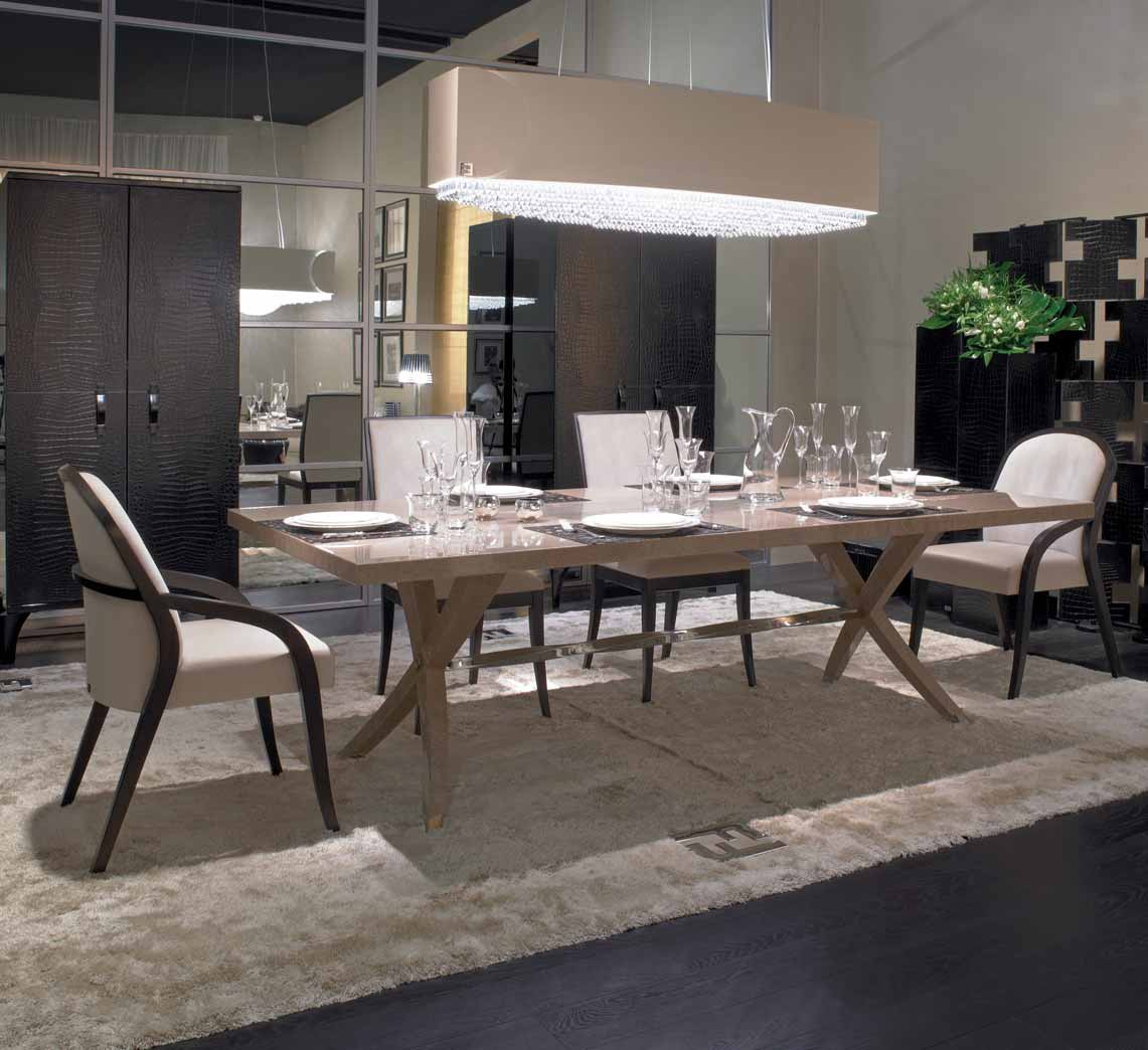 Brunello dining table with rectangular wooden top Fendi Luxury