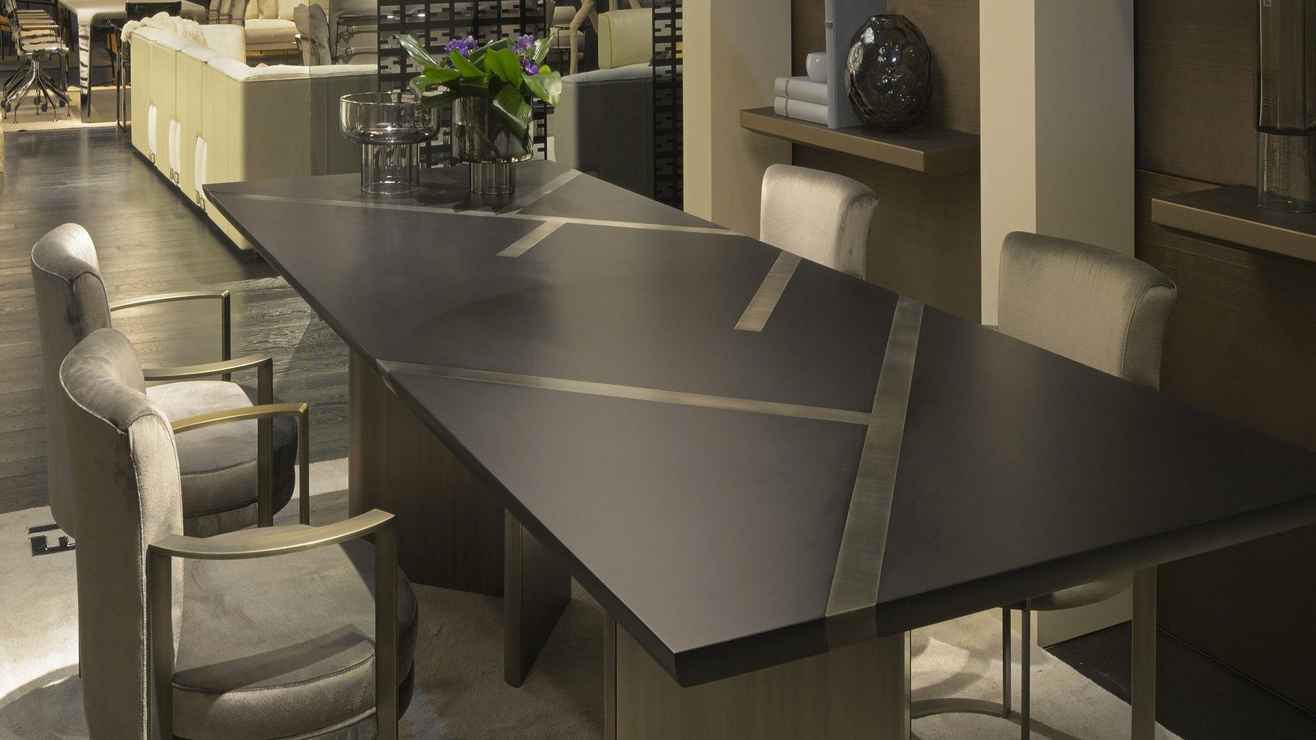 Dining rectangular table margutta natural wood fendi for Fendi casa milano