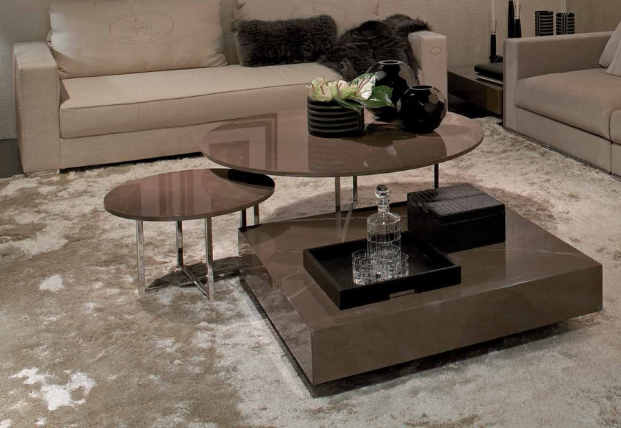 Round Coffee Table On A Metal Frame Olimpic Marble Fendi