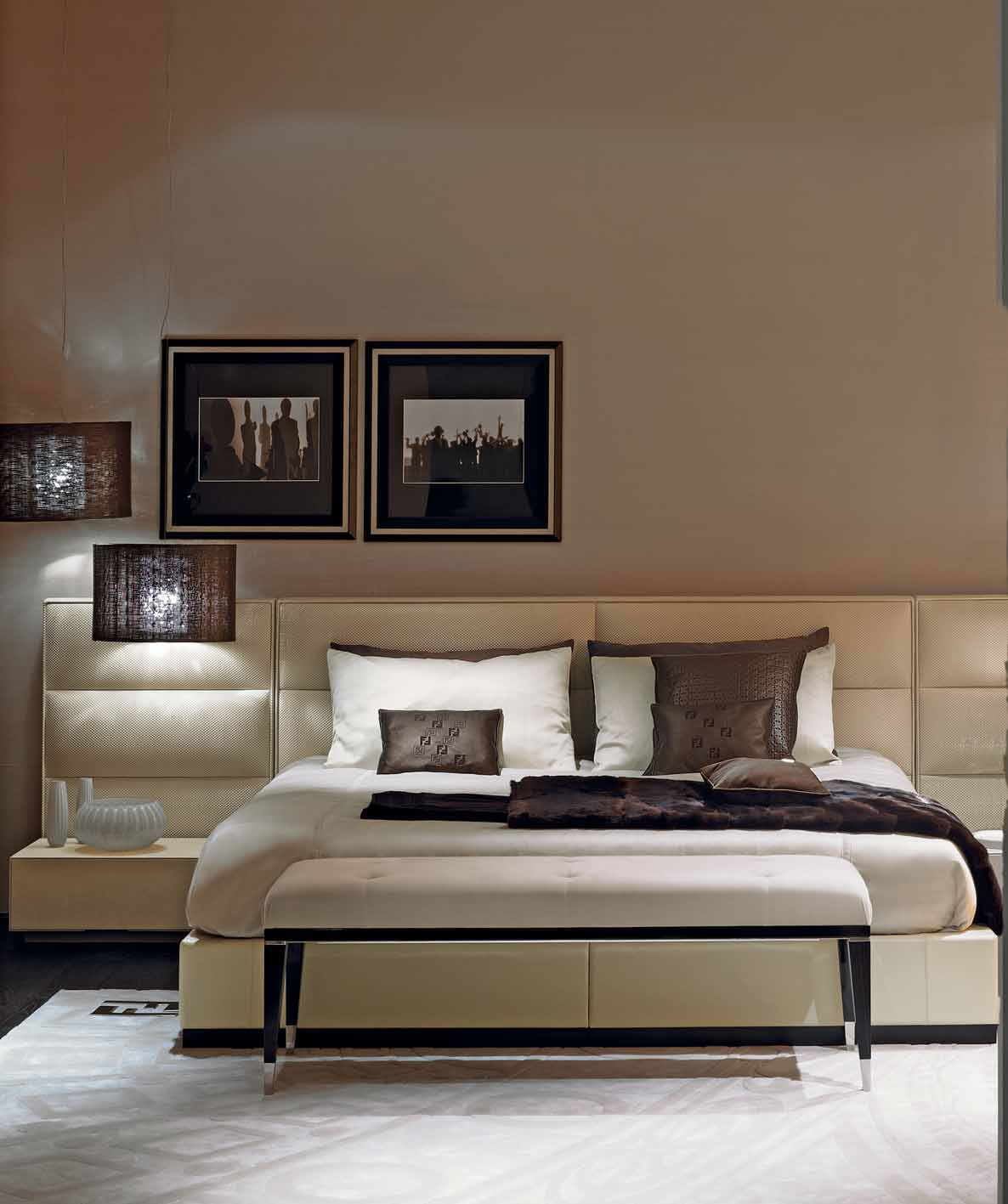 Double Urano 2 Bed With High Upholstered Headboard Fendi