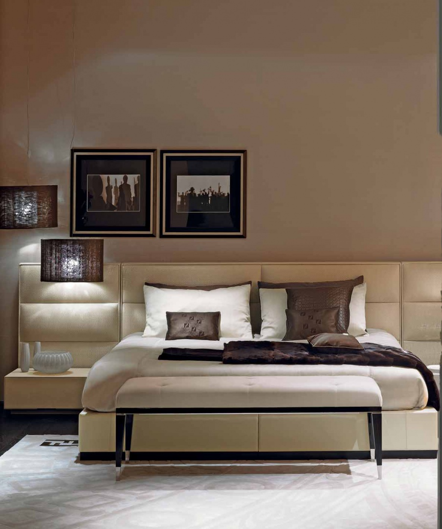 Double Urano 2 Bed With High Upholstered Headboard, Fendi