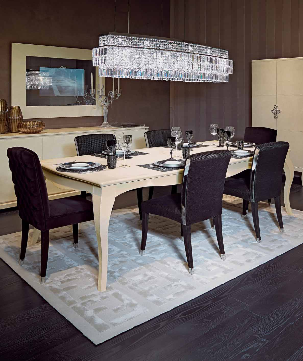 Canova dining table in leather with a frame made of natural wood