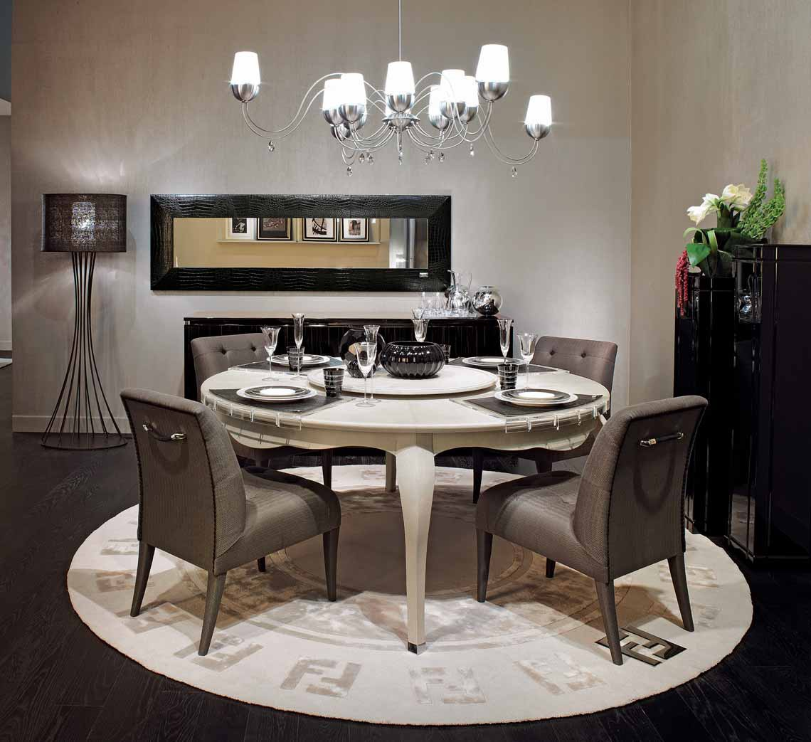 Dining Round Table In Canova Leather With A Frame Made Of