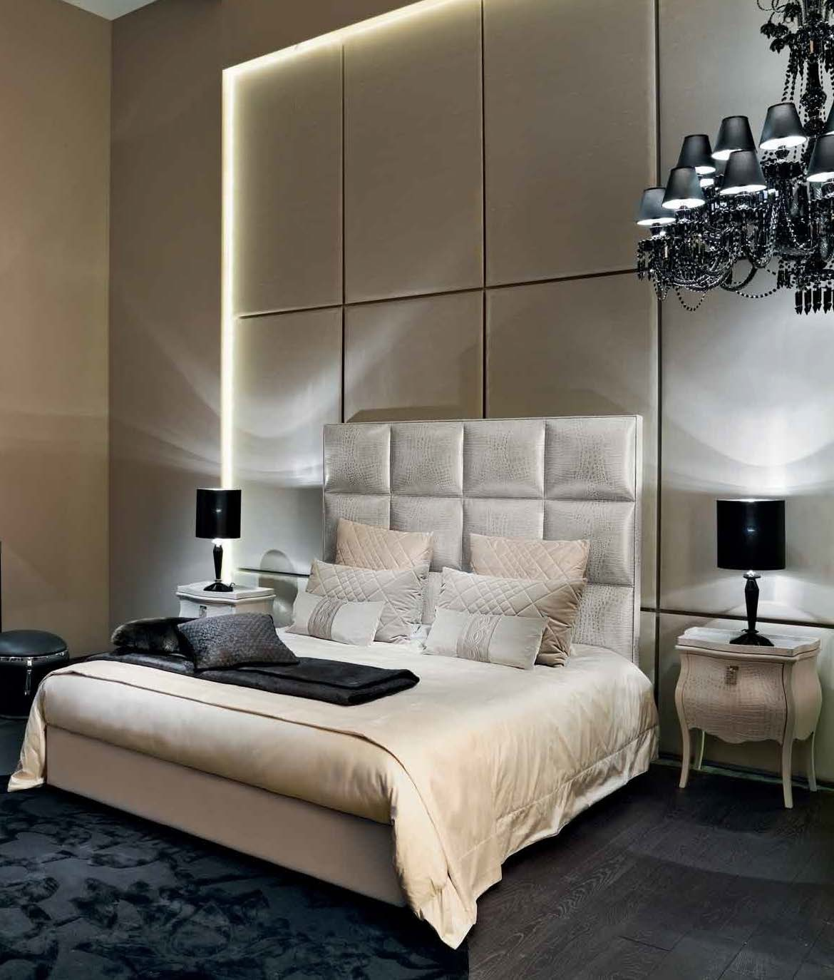 Double Bed With Upholstered Headboard Diamante Leather Upholstery Fendi Luxury Furniture Mr