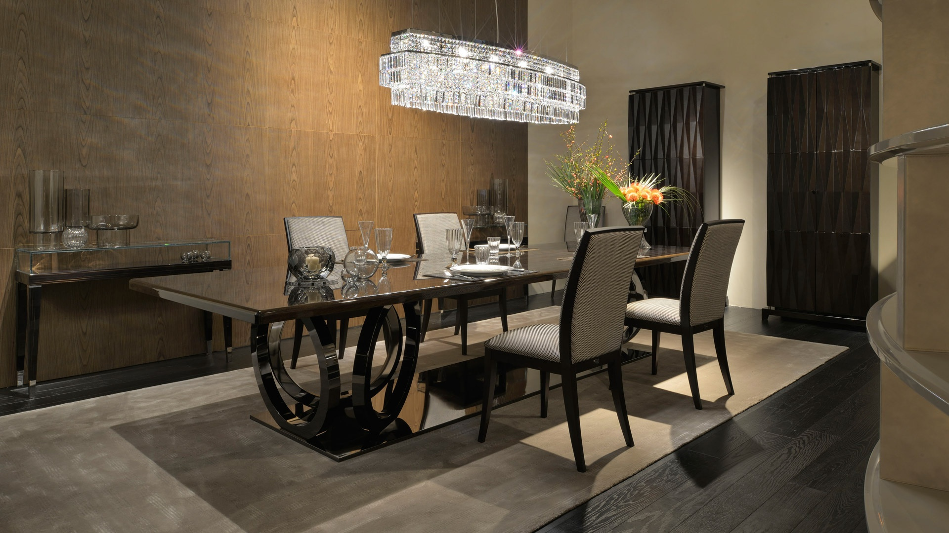 Dining rectangular table natural wood galileo fendi for Luxury dining room design