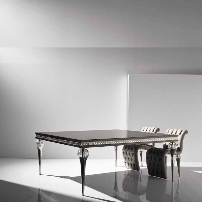 Fusion dining table with metal legs jc passion luxury for Table passion