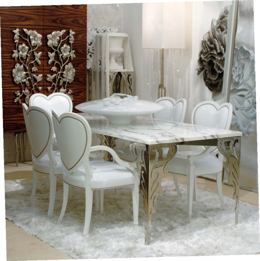 Arabesque dining table with metal legs jc passion for Table passion