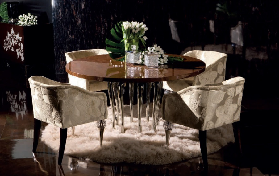 Round dining table with metal legs flower jc passion for Table passion
