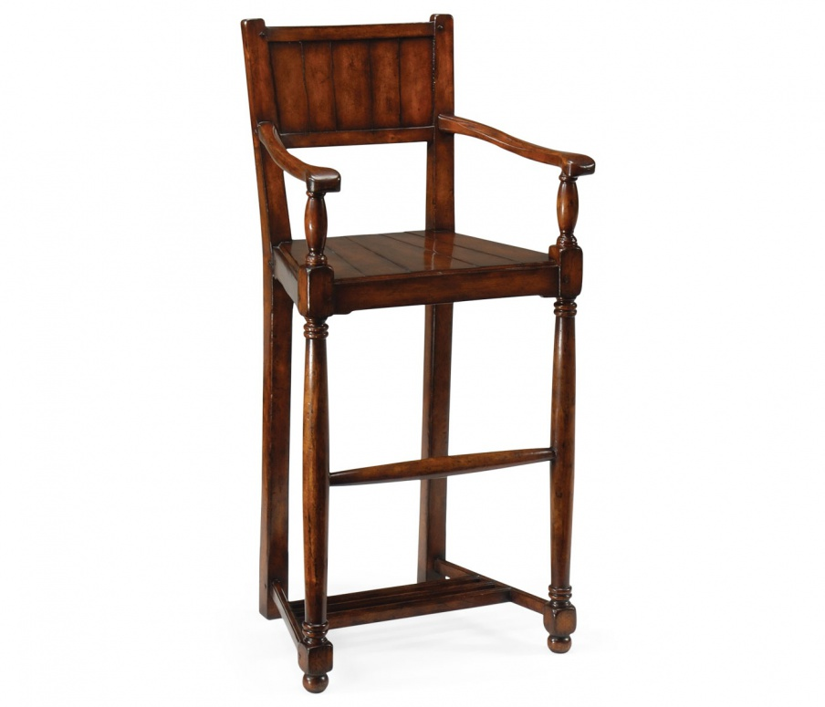 Bar Stool With Wooden Seat And Back Country Farmhouse