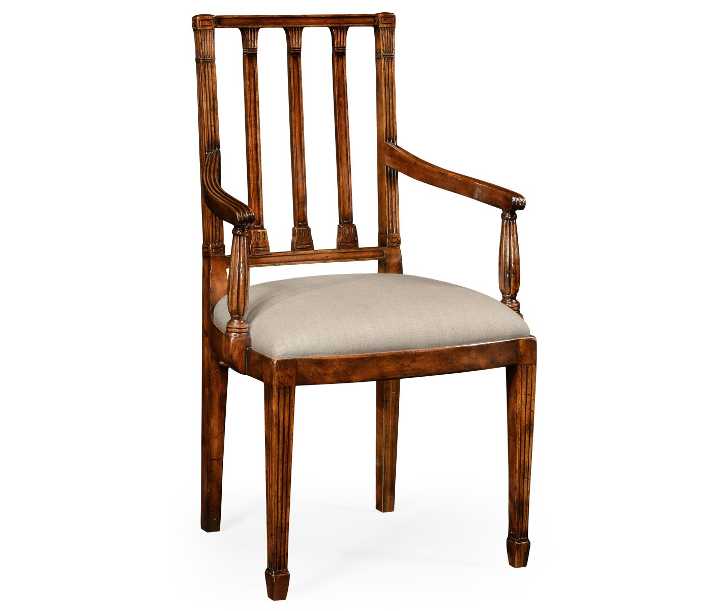 Chair with fluted legs and armrests Windsor Jonathan