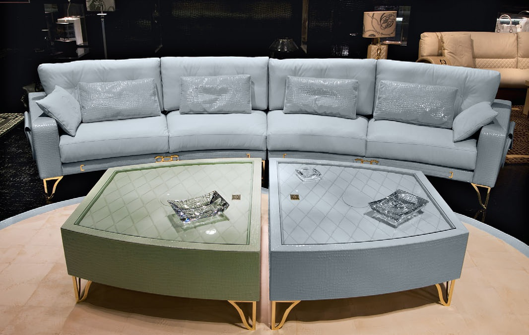 the alabama oval modular sofa in leather upholstery. Black Bedroom Furniture Sets. Home Design Ideas