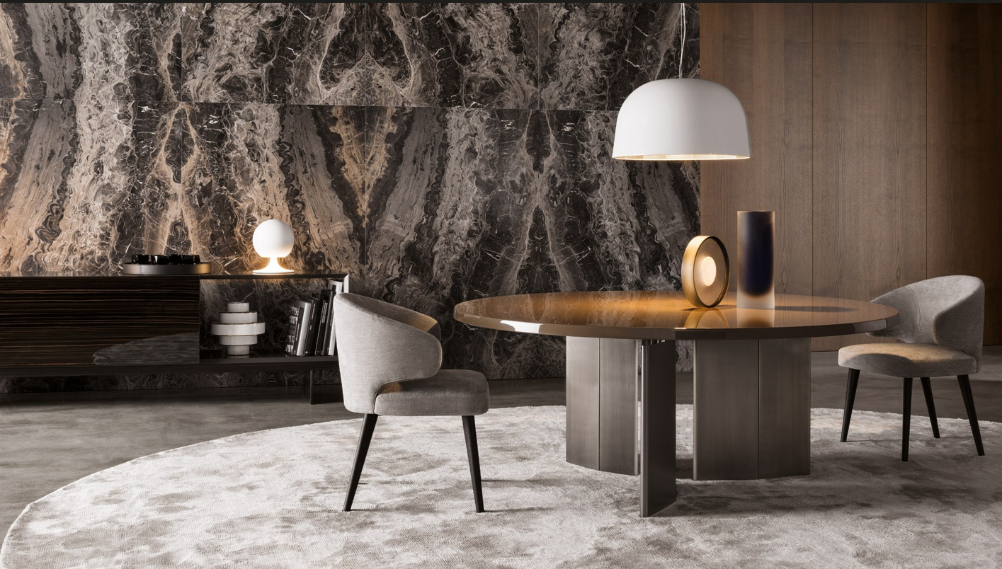 The morgan round dining table minotti luxury furniture mr for Meuble de salle a manger