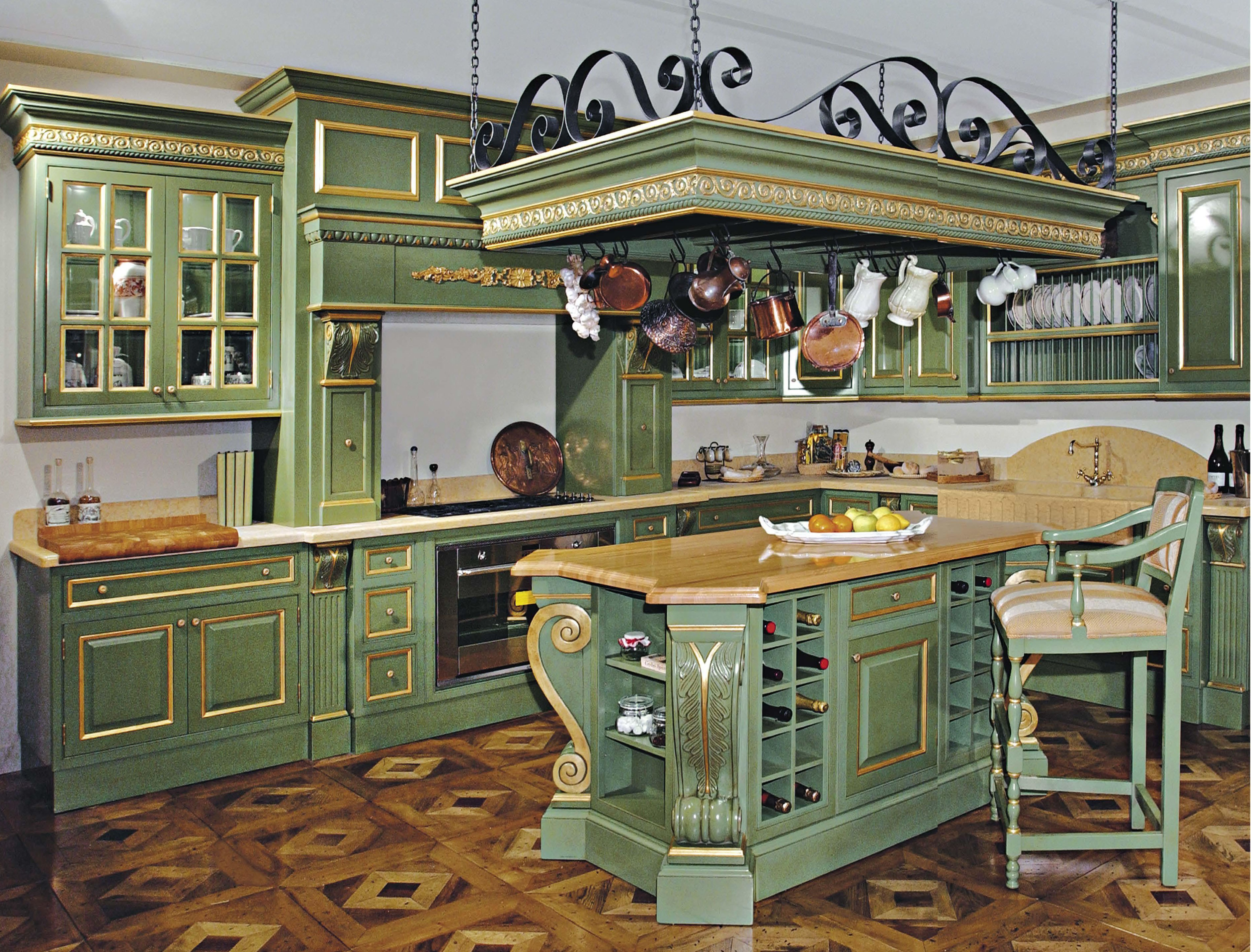 Kitchen kitchen set made of wood with hand carved francesco molon