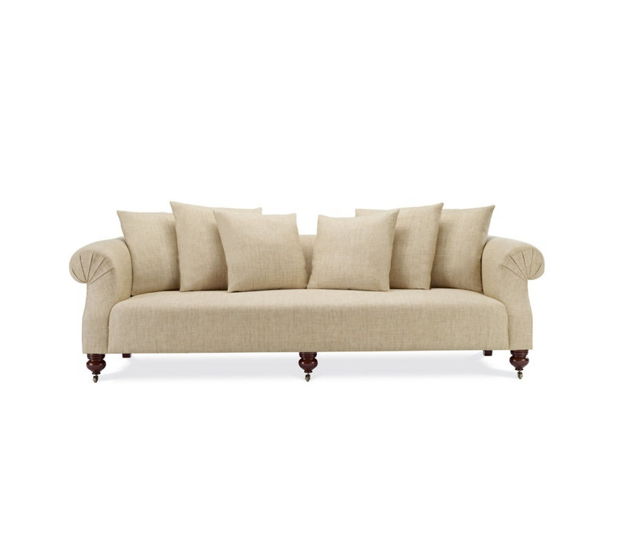 Sofa With Curled Armrests And Firm Seat