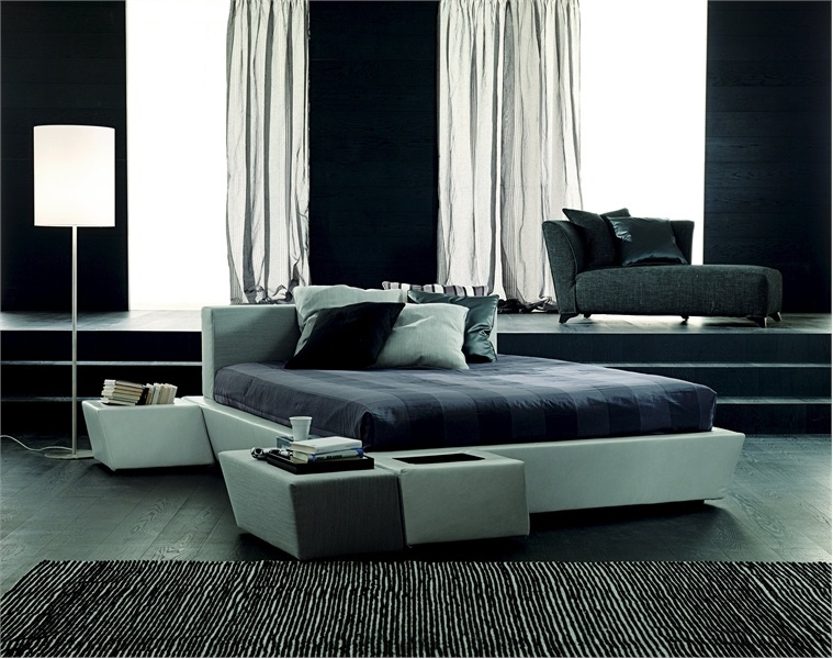 Double bed with a podium place gran mobileffe luxury furniture mr - Characteristics of contemporary platform beds ...