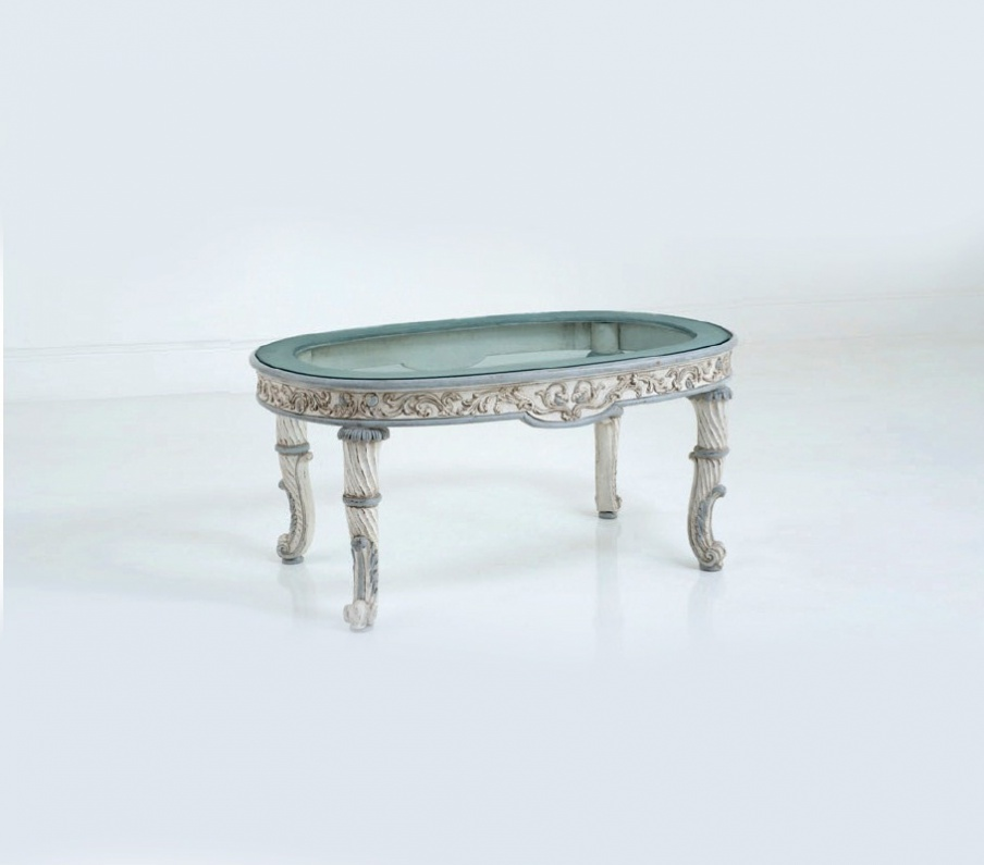 Coffee Table Solid Wood With An Oval Glass Top Chelini Luxury Furniture Mr