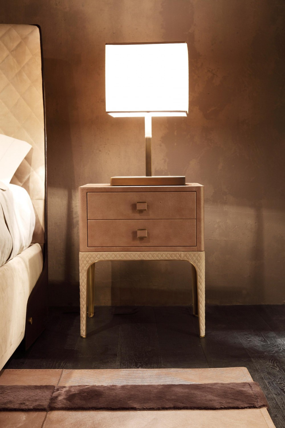 Bedside table in leather trim Charlie Rugiano Luxury