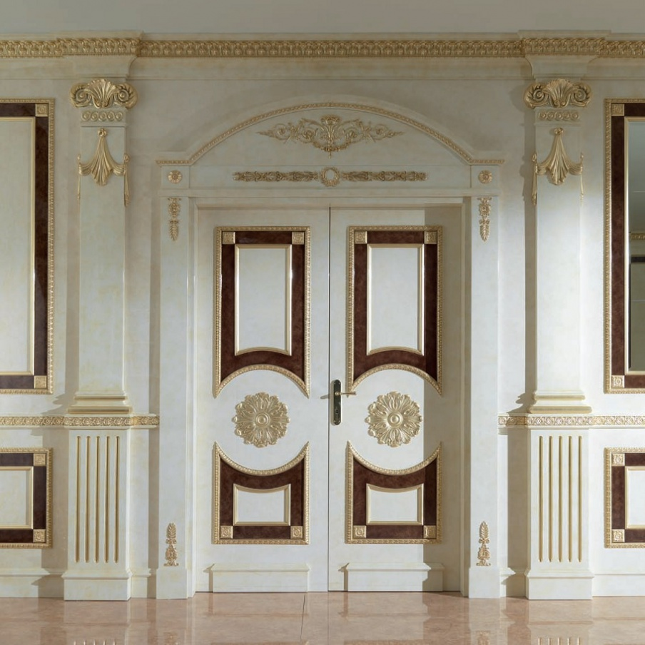 Doors of solid wood with carved gilded Versailles Turri & Doors double hinged solid wood with carved gilded Versailles Turri ...