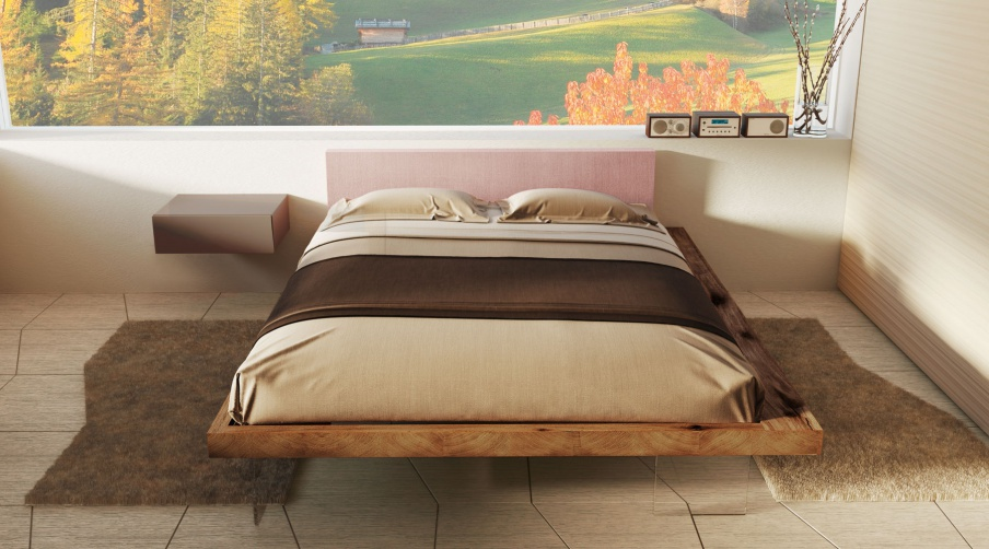 Double bed frame with a frame made of wood and glass lago for Lago furniture