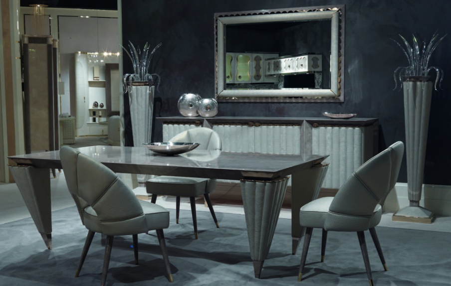 Dining room dining set from wood and leather trim orion for Orion arredamenti
