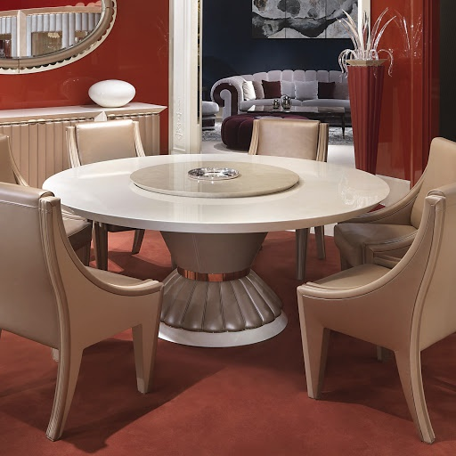 Dining Table Round With Leather Trim Orion, Turri