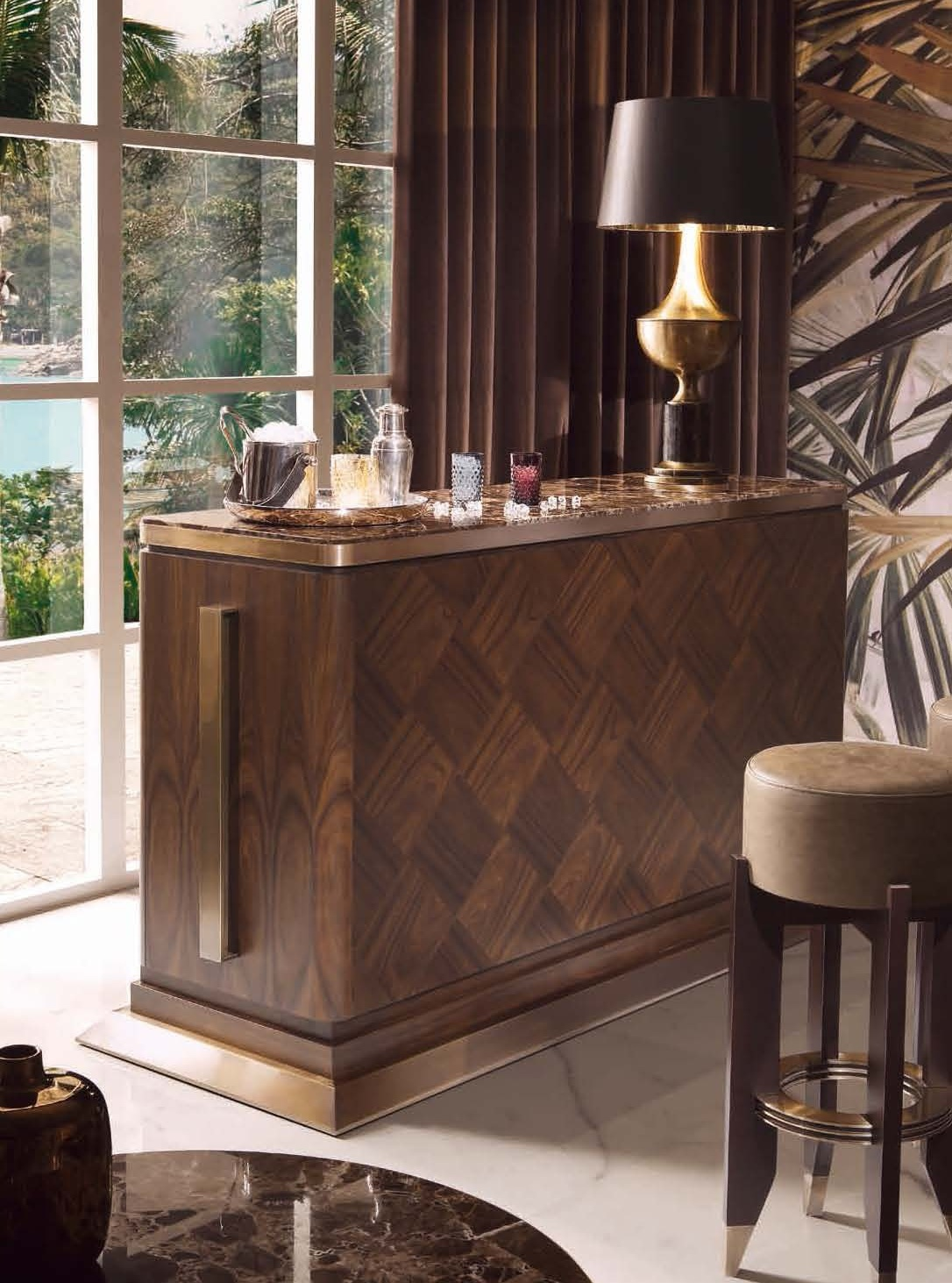 Bar Table Wooden With Marble Top Harrys Smania Luxury