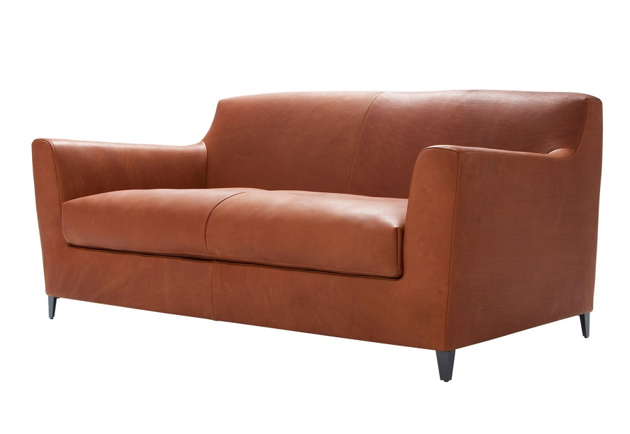 Two Seater Sofa In Leather Upholstery Rive Droite Ligne