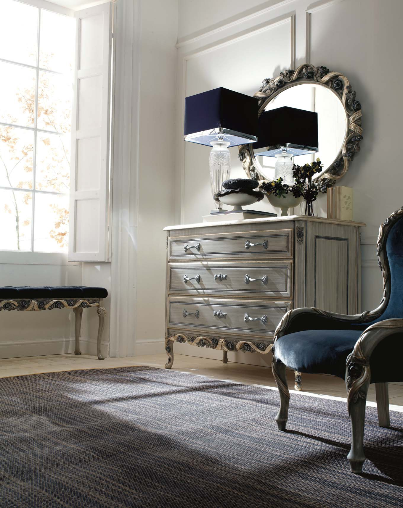 Bedside Bench With Carved Elements Ambiente Notte Savio