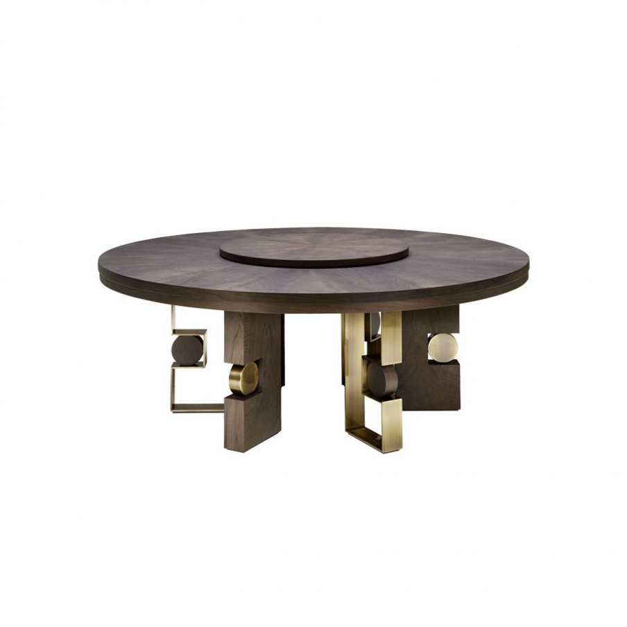 Round dining table with decorative legs rodrigo smania for Ornamental centrepiece for a dining table