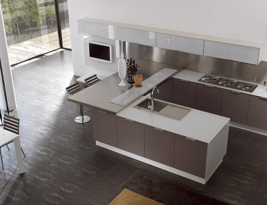 Kitchen (kitchen Set) With A Facade Made Of Wood And Laminate Aster Cucine,