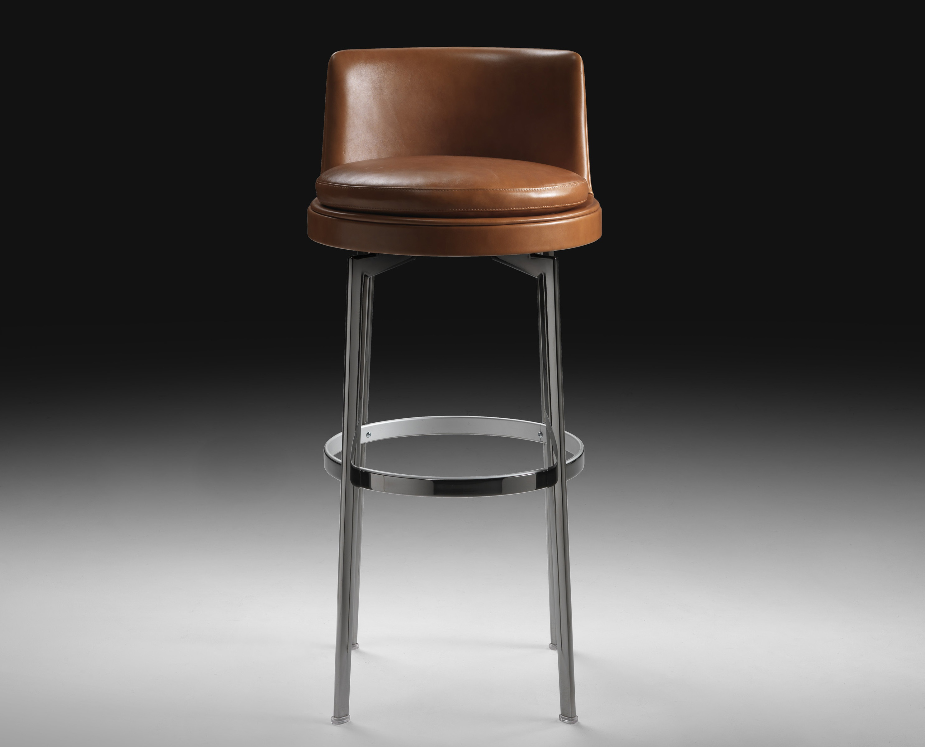 Bar chair with leather upholstery sgabello feel good flexform