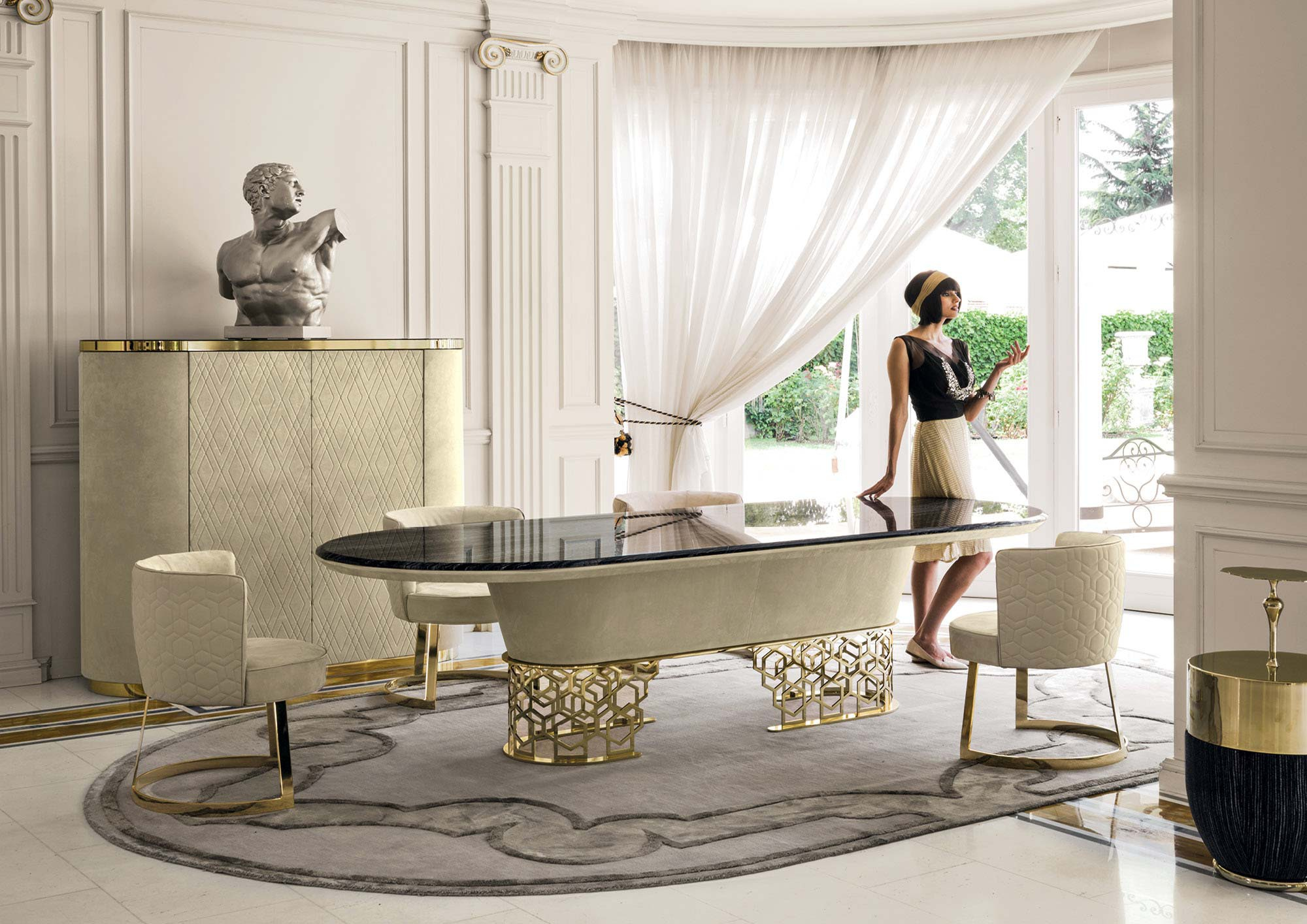 Silver Marble End Table