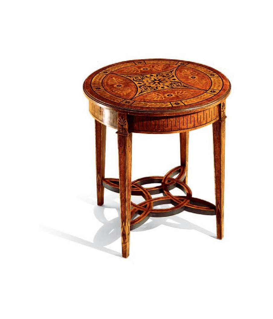 Round Coffee Table Solid Wood With Carvings Armando Rho Luxury Furniture Mr