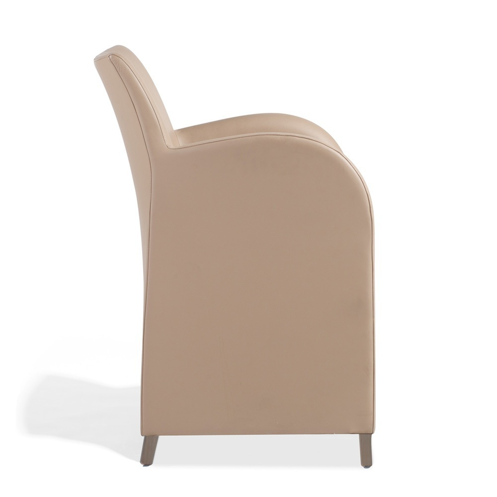A Chair Made Of Natural Wood In Leather Upholstery With