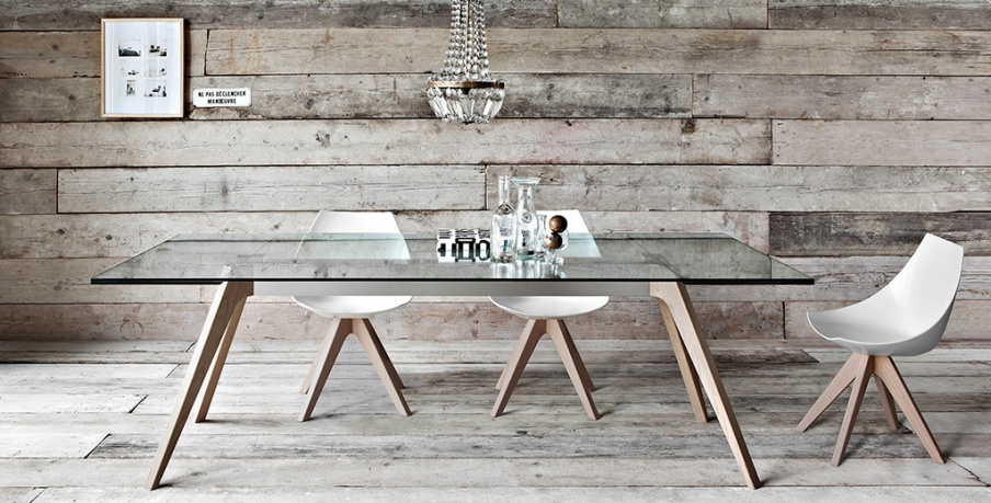 The rectangular extendable dining table with glass top Delta, Pianca ...