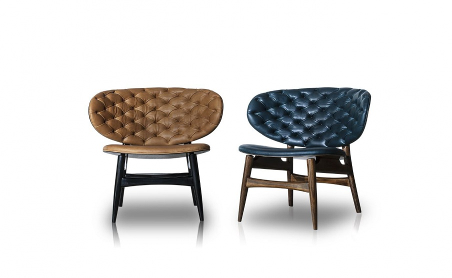 Chair In Leather Upholstery On High Wooden Legs Dalma