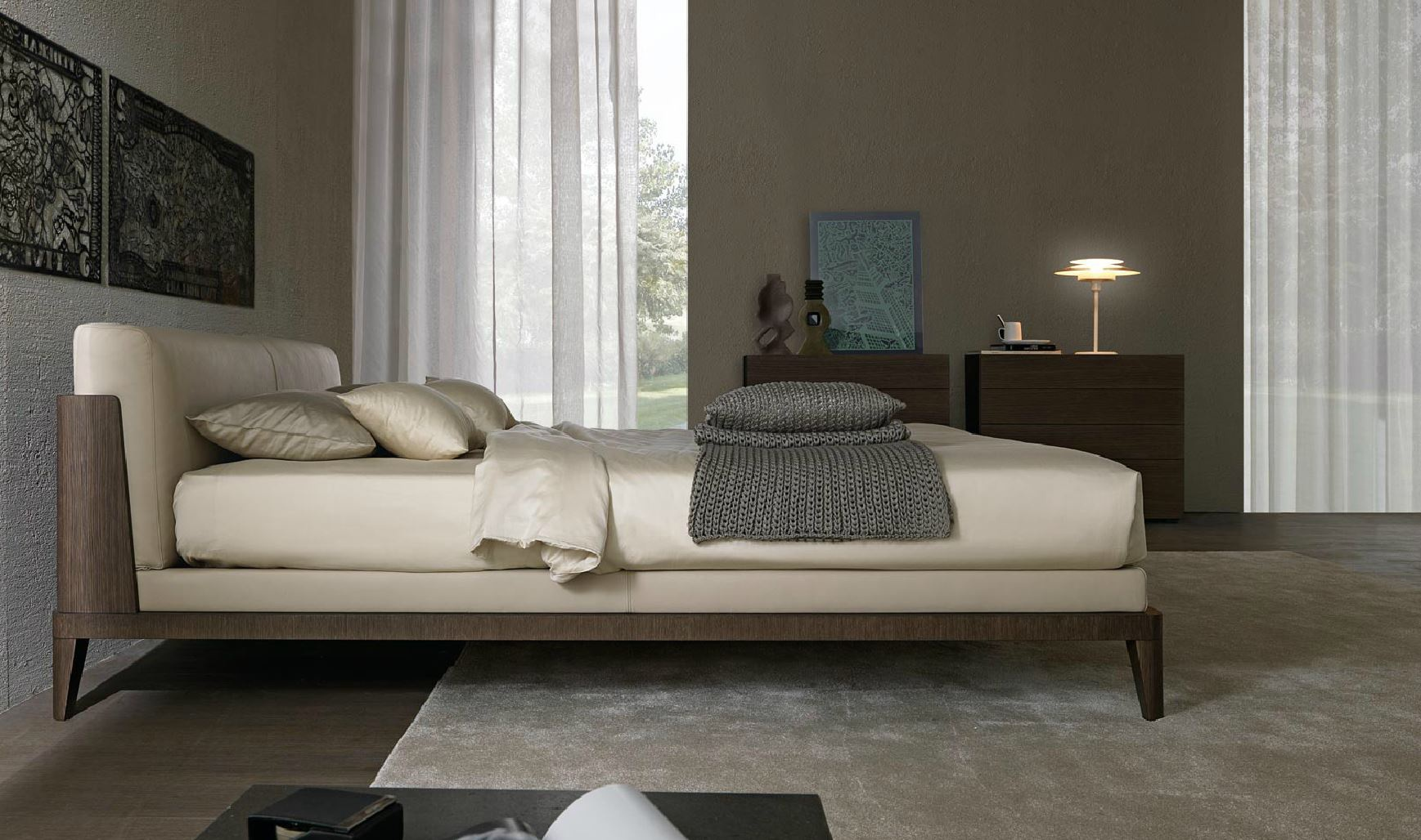 Double bed on a frame of wood in the leather upholstery for Misuraemme bed