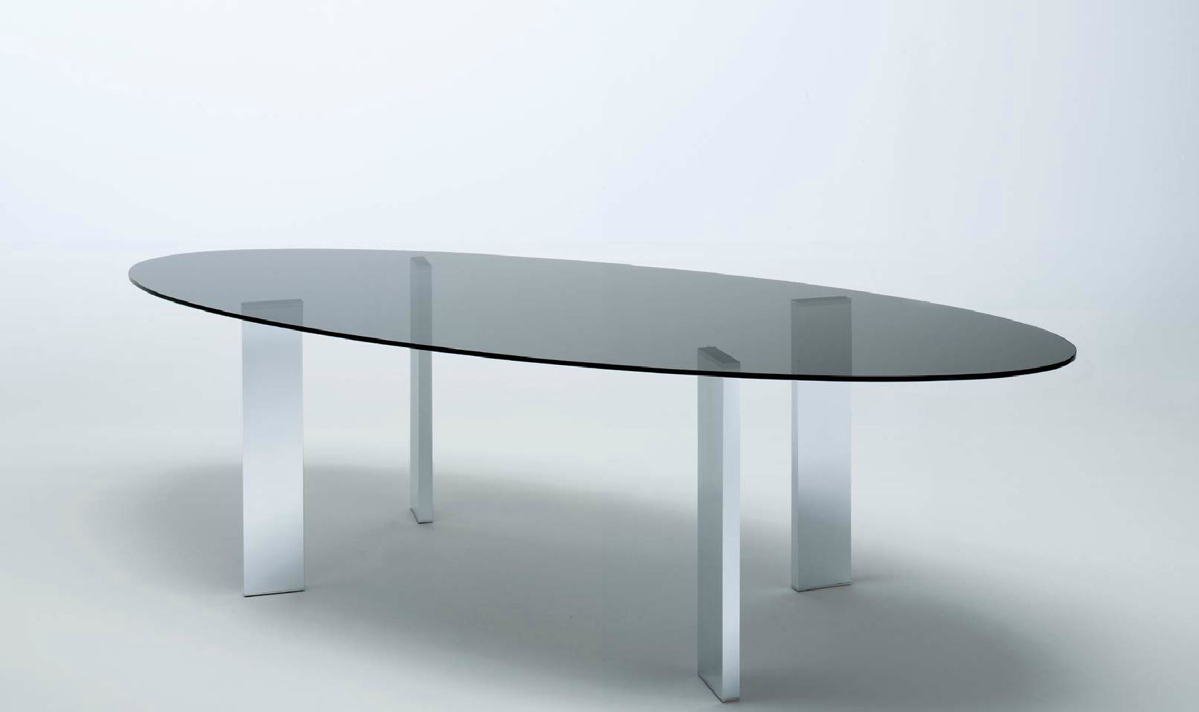 Dining Table With Oval Glass Top Metal Legs Taul Misuraemme Luxury Furniture Mr
