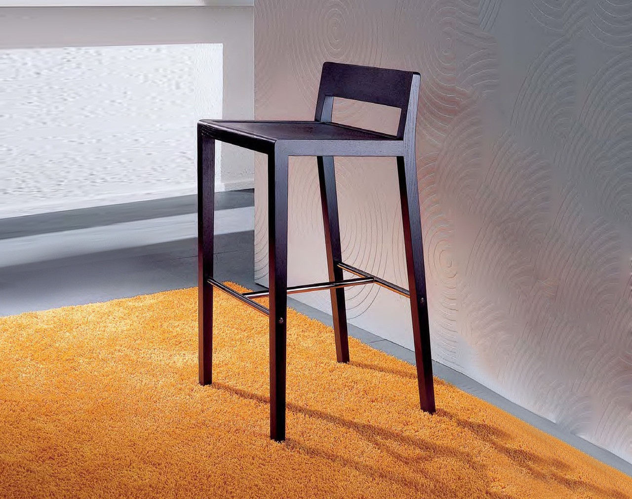 Bar chair made of solid wood with metal footrest bryant bryant