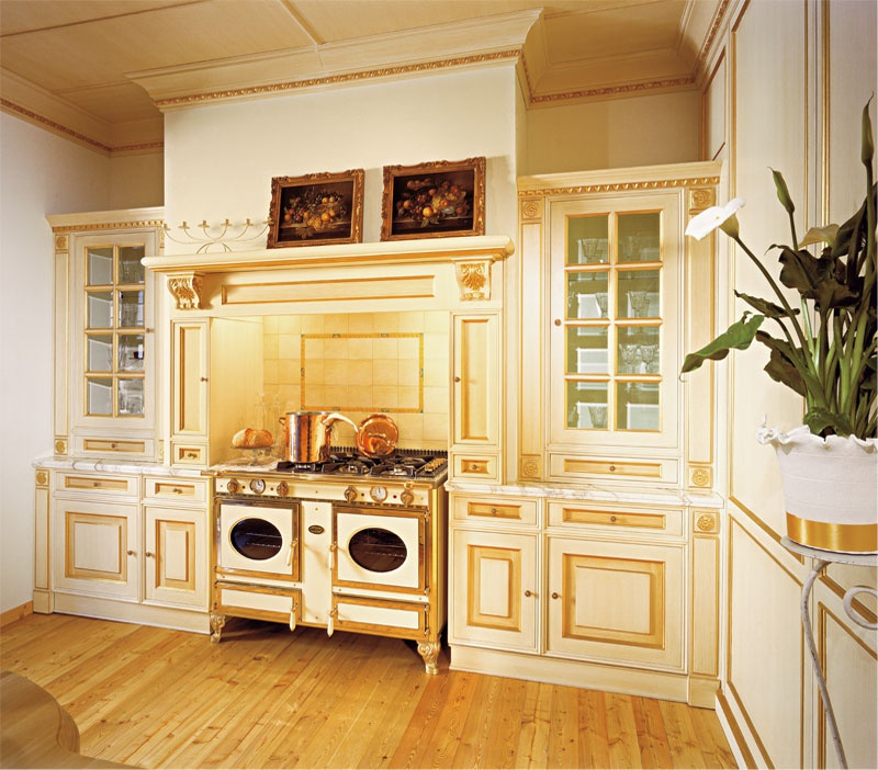 Set For The Kitchen Made Of Solid Wood With The Island Royal Cadore