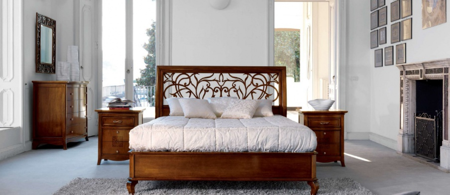 Double bed wooden frame with high headboard tiepolo beta - Wooden art mobili ...