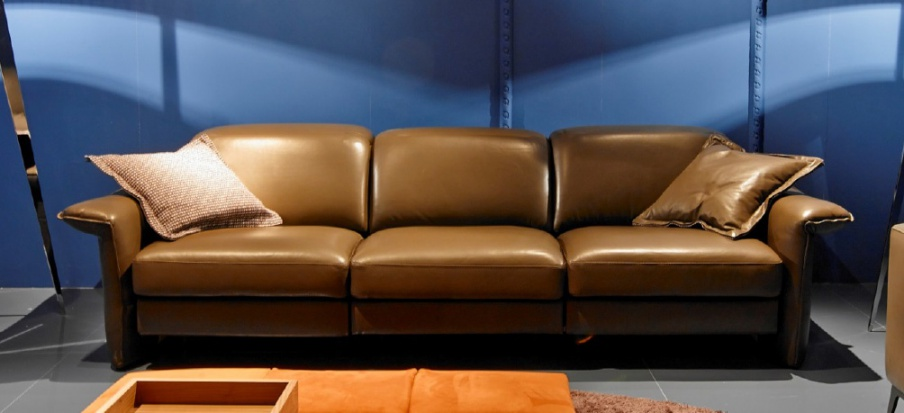 Three Seater Sofa With Leather Upholstery Dream, Valmori