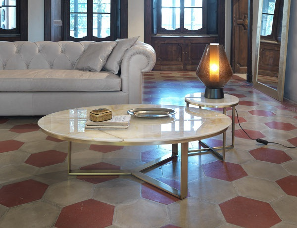 Coffee Table With Marble Top Oval Circle Giulio Marelli