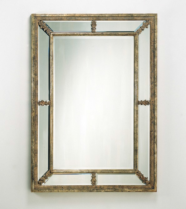 Floor mirror in a frame with glass inserts spini luxury for Glass floor mirror