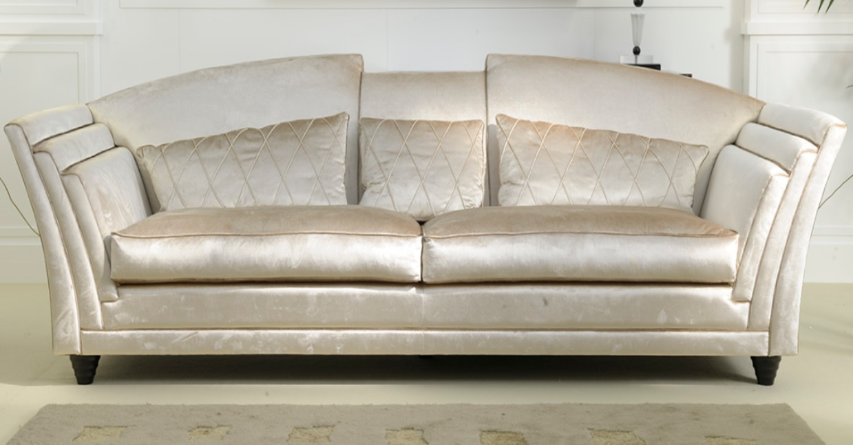 the double sofa in the upholstery fabric in pearl color. Black Bedroom Furniture Sets. Home Design Ideas