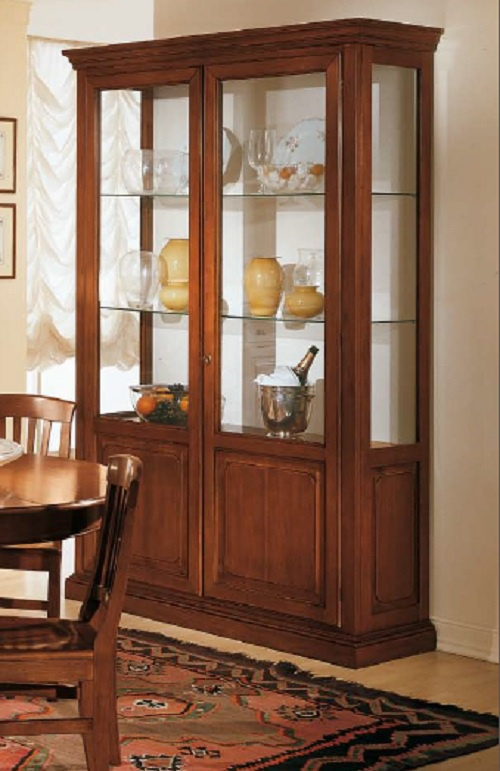 Showcase two door solid wood with glass shelves cp mobili - Wooden art mobili ...