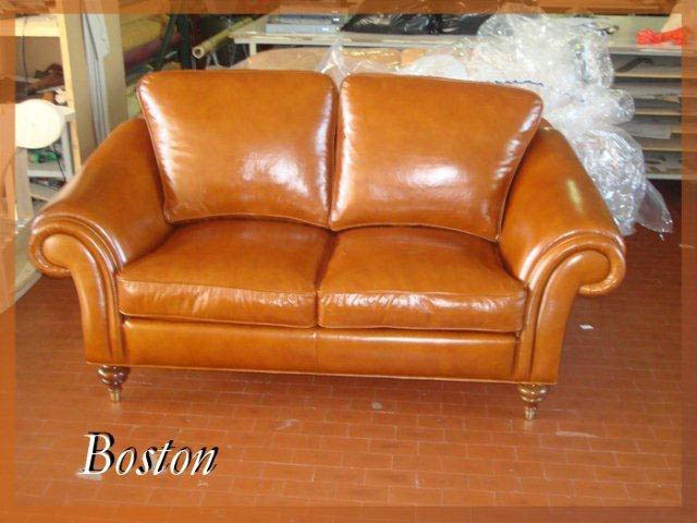 Two Seater Sofa Made Of Wood And Leather Boston