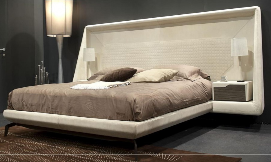 Set For The Bedroom In Leather Sand Color V007 Formitalia