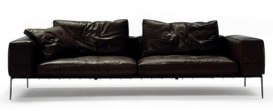 Sofa On A Metal Frame Upholstered In Leather Or Fabric Lifesteel, Flexform