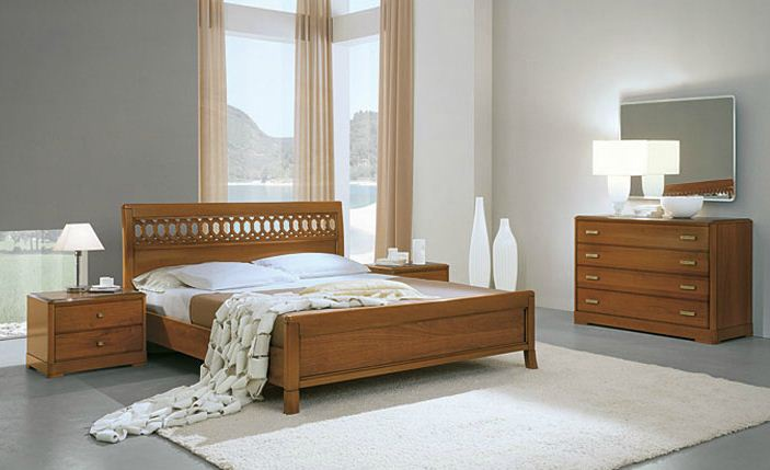 Set For Bedroom Made Of Solid Wood In A Walnut Veneer Murano Noce